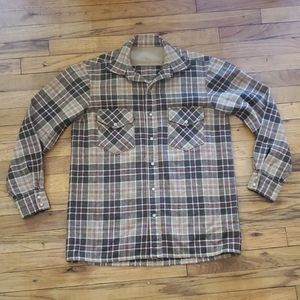 Vintage plaid tan and brown flannel jacket medium